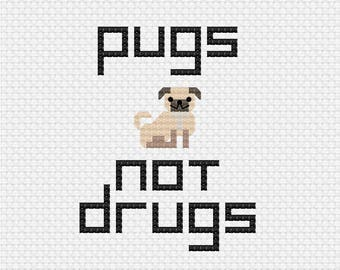 Pugs Not Drugs Cross Stitch Pattern