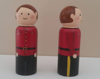 Wooden peg doll RCMP