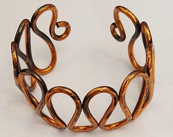 Handcrafted Snake Design Copper Cuff Style Bracelet ~ 1960's