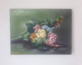 Original floral painting, acrylic on canvas, flower painting, stilllife painting, small painting, original canvas art, canvas painting,