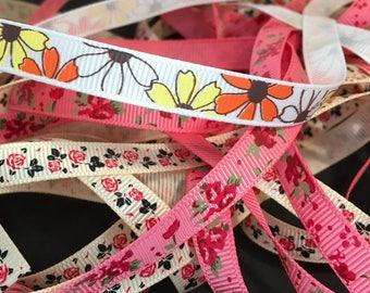 1.5 Metres Floral Grosgrain Ribbon, Bows, Spring, Summer, Garden