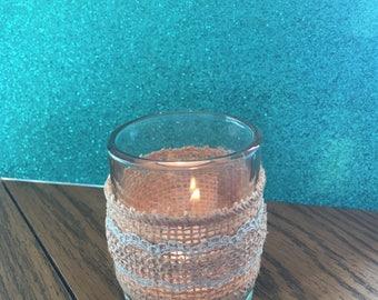 Chic Blue Lace Burlap Candle Votive