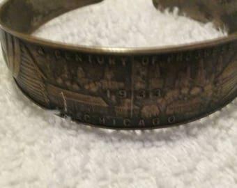 Antique 1933 Worlds Fair A Century of Progress Bracelet/Vintage Memrobillia/ Bangle/ Decorative Jewelry/Statement/Chicago/Eco Friendly