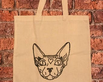Sphynx cat cotton tote shopping bag