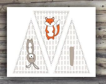 """Woodland Animals """"It's A Boy"""" Baby Shower Banner"""