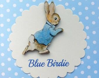 Peter rabbit brooch Beatrix Potter badge wooden Peter rabbit badge Peter rabbit jewellery vintage book gifts