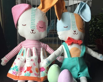 Spring Bunny Panel, Easter decor project, fabric doll panel, Kids sewing project, cotton fabric
