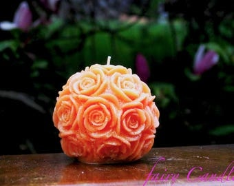 Orange Candle, Scented candle,  rose candle, Decor Gift 9x9 cm