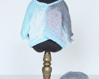 Cardigan with cap for 45 cm doll