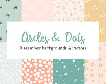 Circles and Dots Seamless Patterns Vector