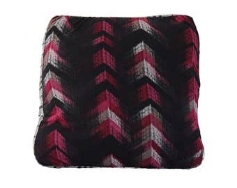 Pink Geo Print Chevron cushion with fur reverse-Free Shipping Worldwide