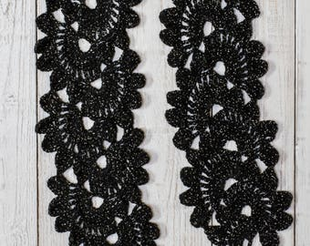 Crochet scarf, long crochet scarf, woman scarf, Black crochet scarf,Ladies scarves, Gift for her,Birthday present