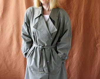 Vintage 1980s Austin Reed Green Check Trench Rain Coat XS-S