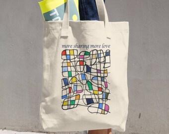 more sharing more love tote bag
