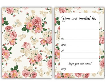 Party Invitations - Vintage Roses - 24 x A6 postcard size cards - suitable for any celebration! (With envelopes)
