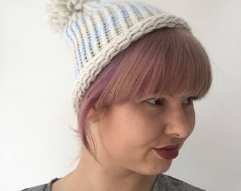 Baby blue striped beanie pompom