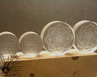 Epoxy laser engraved Tunnels Plugs Handmade Wooden Ear Plugs Gauges, make your own style and image, minimum size 14 mm