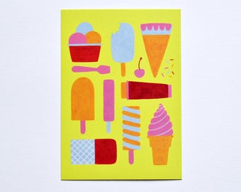 Yellow Postcard Ice Ice Baby A6
