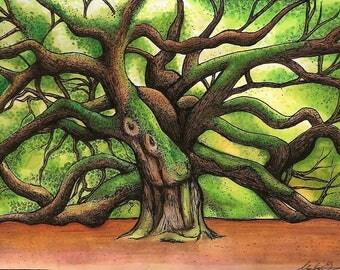 Charleston,SC Art Print- Angel Oak Tree Landscape Drawing, Nature Art for Office or Home, Landscape Wall Art