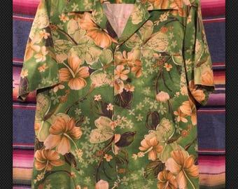 Vintage 60's XL barkcloth loop collar Hawaiian shirt