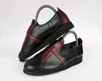 vintage leather womens shoes UK 4.5 EUR 37.5 Retro Trainers 60s