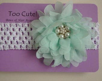 Green Floral Headband with Pearl and Rhinestone Embellishment