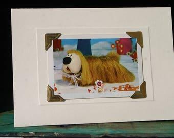 Handmade greetings/birthday card. Genuine vintage playing card, 1970s, The Magic Roundabout - Dougal. Retro kids' TV.