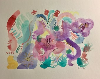 8x10 Original Abstract Watercolor Painting