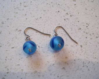 Blue Glass Drop Earrings