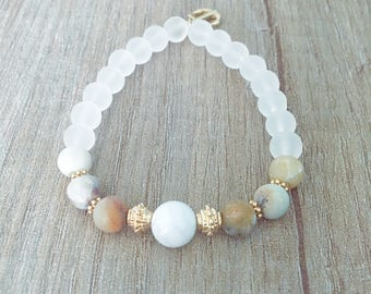 Anchor boat - Matt Amazonite - Howlite bracelet