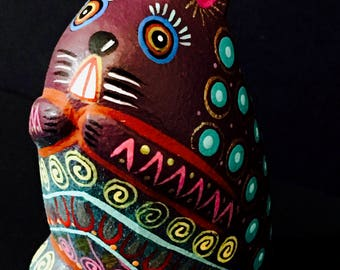 Jacobo and Maria Angeles: mini rabbits, hand-carved and hand-painted wood, folk art, one-of-a-kind art//alebrijes