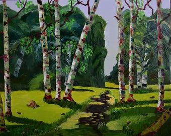 Original oil. the sun, trees, grass, birch grove