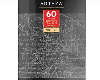 """Arteza Graphite Transfer Paper, 9 X 13"""", 60 Sheets (Grey)"""