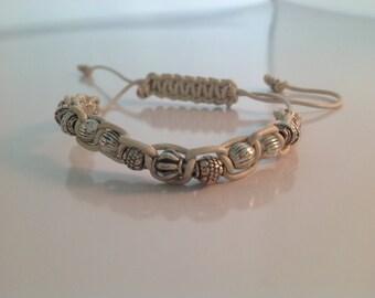 Silver and White Macrame Bracelet