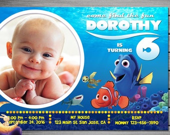 Finding Dory Invitation, Finding Dory Birthday, Finding Dory Party, Finding Dory Invites, Finding Nemo Invitation, Finding Nemo Birthday