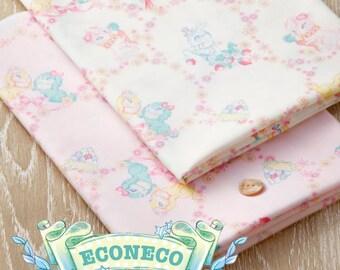 "econeco Cotton Broad Cloth Dear Bunny Pattern PINK Japanese fabric  / Half yard  110 cm x 50 cm (about 43.30 ""x 19.50"")  KAWAII"