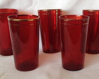 5 - Ruby Red Tumblers with Gold Bands - 8 oz