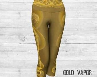 Gold Vapor Yoga Capri Pants