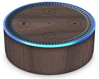 Walnut Wood Cover for Amazon Echo Dot by WoodySkins - Real Genuine Hardwood Skin - Peel-N-Stick 3M Technology - Crafted in America