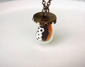 Eclair Donut Glass Dome Kawaii Necklace