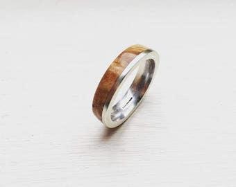 Handmade Sterling Silver Maple burl Lignum ring