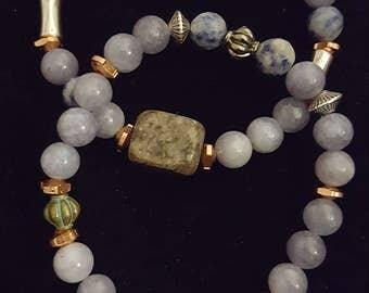 Slate blue natural stone bracelet