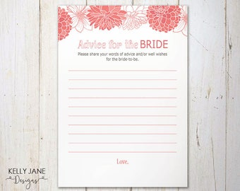 Pink Shower Advice for the Bride Activity Cards - Bridal Shower Activity - Pink Floral - Flower  Printable Bridal Shower Activity  PD01