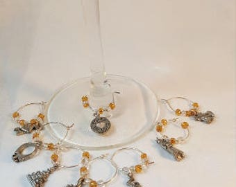 WEDDING/ANNIVERSARY Wine Glass Charms -- set of eight