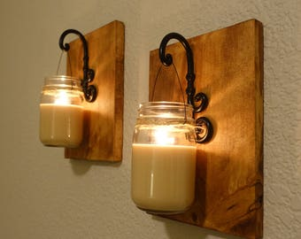 Natural Wood Sconces with Soy Mason Jar Candles. Hanging Candle Decor. Set of 2.