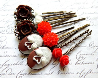 Flower Bobby Pin Set - Chocolate Brown, White and Red Flower and Swan Cameo Hair Pins -  Vintage Style Hair Accessories