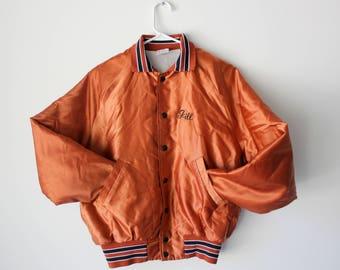 "Vintage Orange-Copper Hoof-Beats 4H Jill Satin ""Bomber"" Jacket // Men's Small"