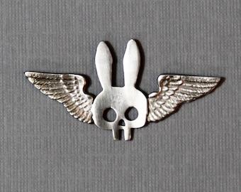 Winged Bunny Skull Pin