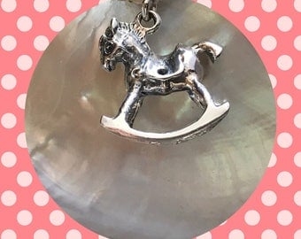 SOLID Silver Rocking Horse Charm Pendant
