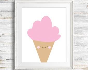 Cute Ice Cream Digital Download Print - Children, Kids, Bedroom Decor, Nursery Art